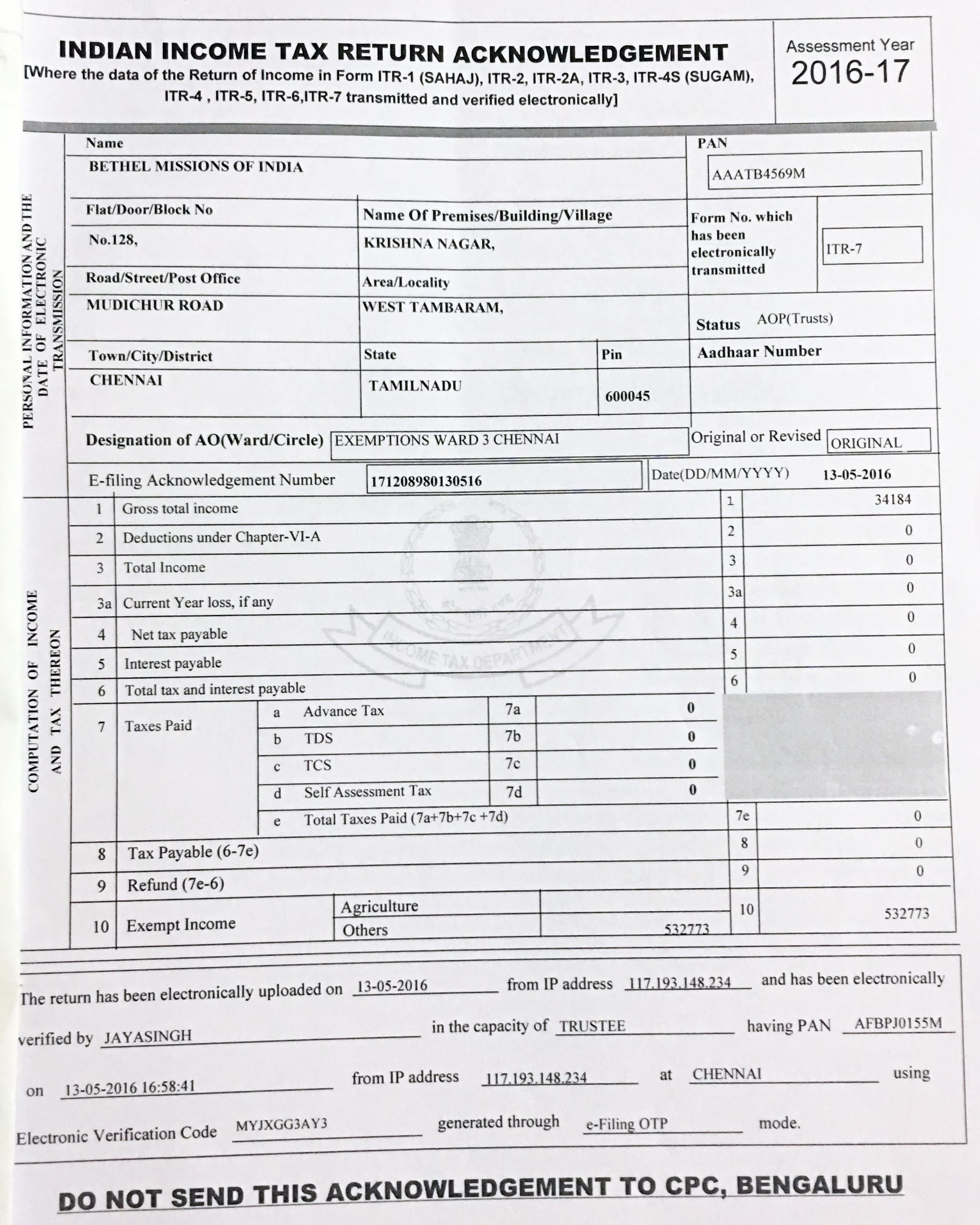 Bethel Missions Of India It Certificate